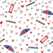 pattern with love hearts and umbrellas