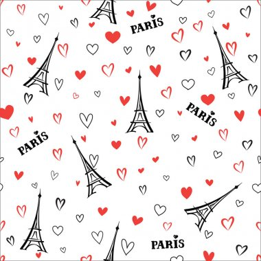 Love hearts with Eiffel Tower pattern