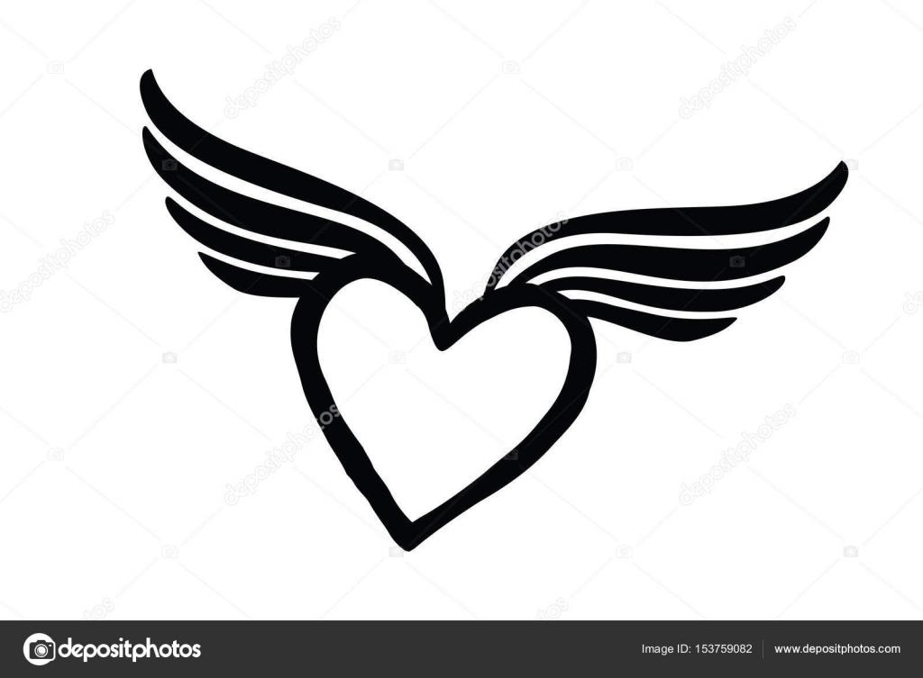 Dibujos Corazones Con Alas En Blanco Y Negro Icono De Corazón