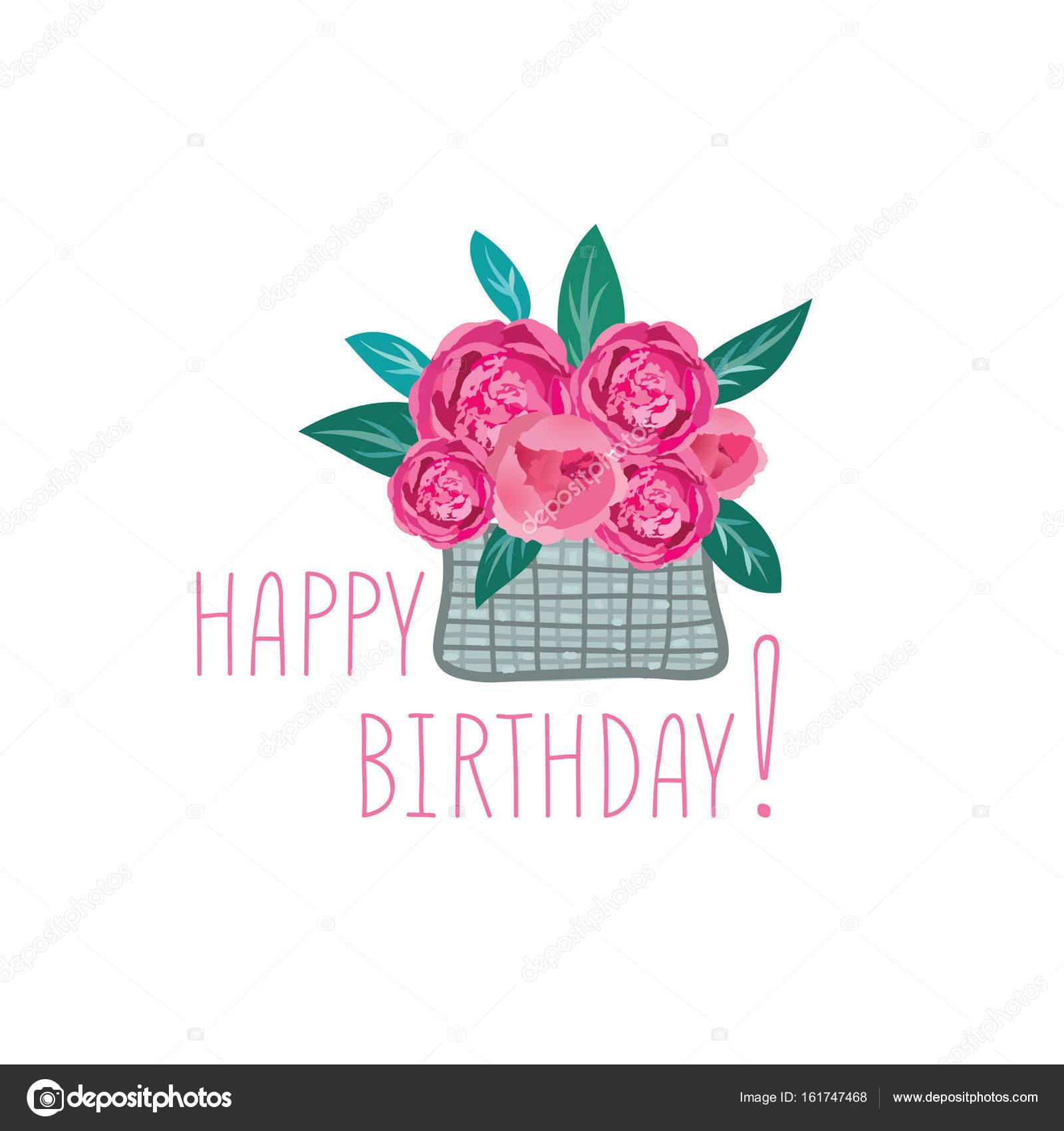Illustrazione Fiori Per Auguri Di Buon Compleanno Fiori