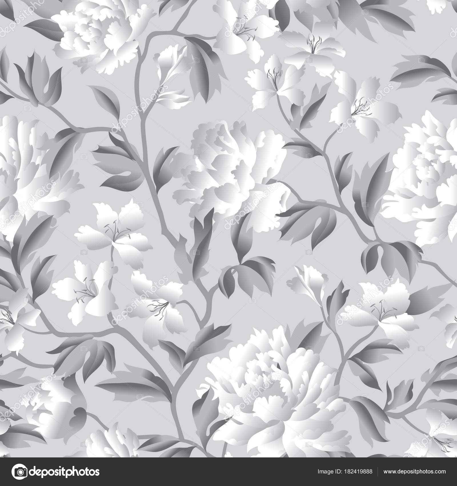 Flourish Wallpaper With Plants And Flowers Stock Vector
