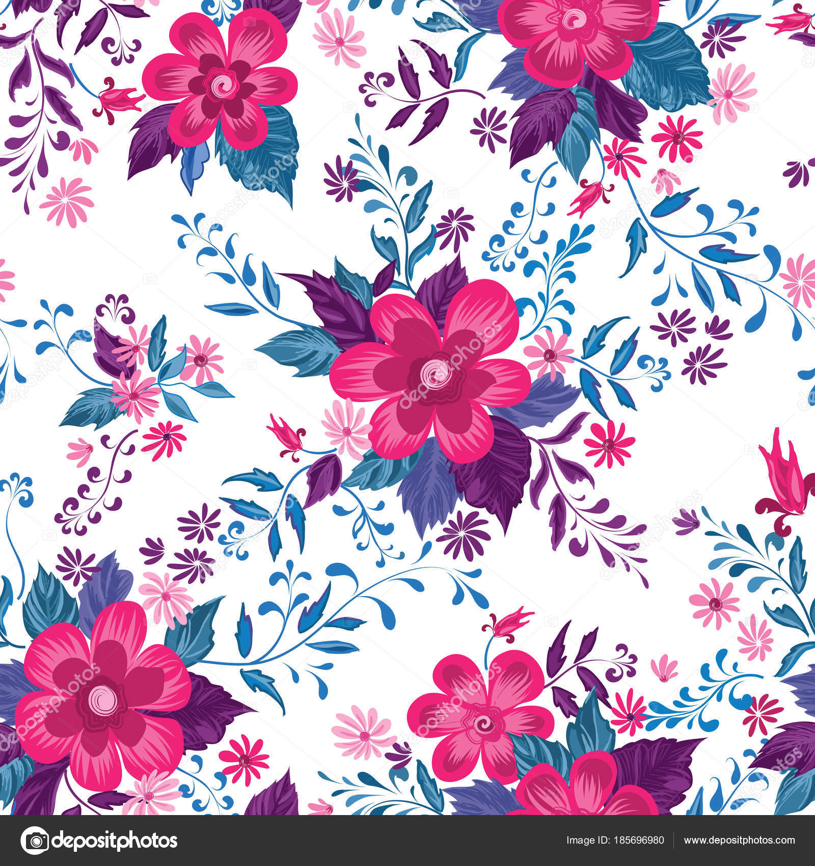 Floral Seamless Pattern Flower Background Flourish Ornamental Summer Wallpaper Flowers Stock Vector C Yokodesign
