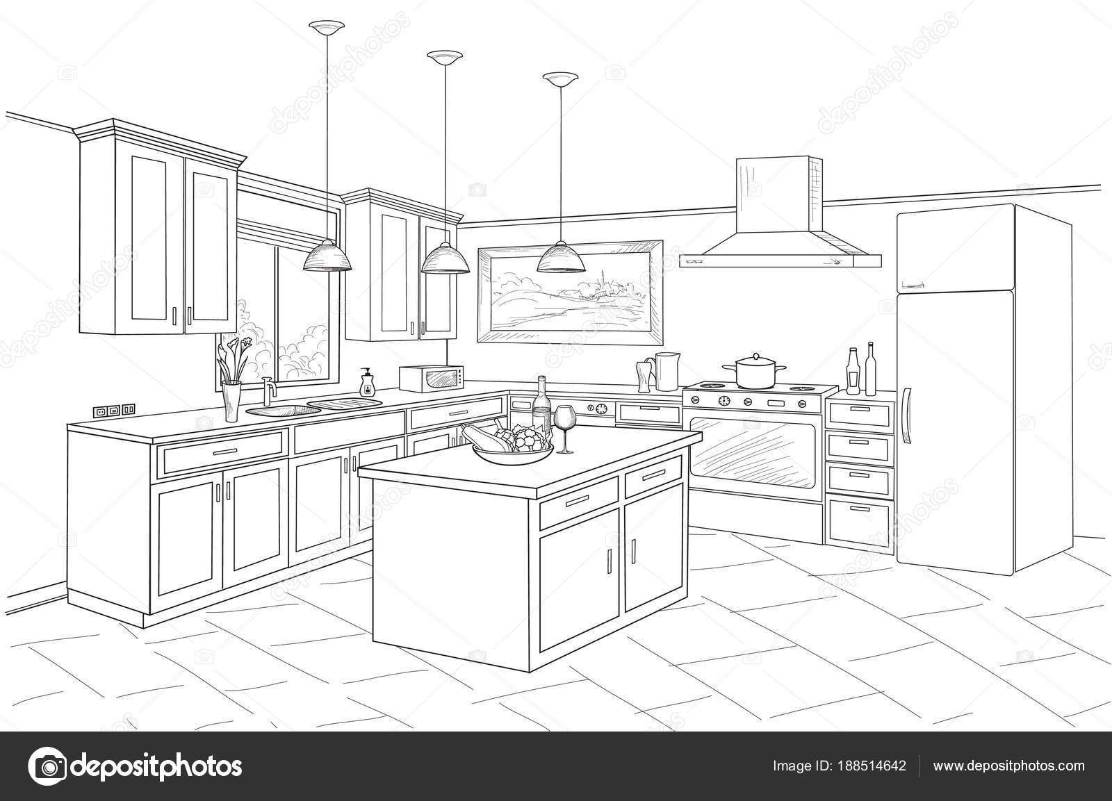 Desenho Interior Do Quarto Da Cozinha Vetores De Stock