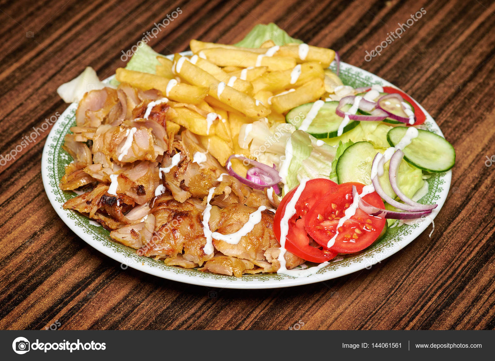 Gyros Greek Plate Similar With Turkish Doner Kebab Stock Photo Image By C Steevy84 144061561
