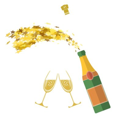 Champagne Bottle Explosion. Happy New Year. Cheers. Alcoholic Fizzy Drink. Congratulations. Merry Christmas.