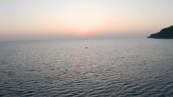 A drone flying low over the Mediterranean Sea