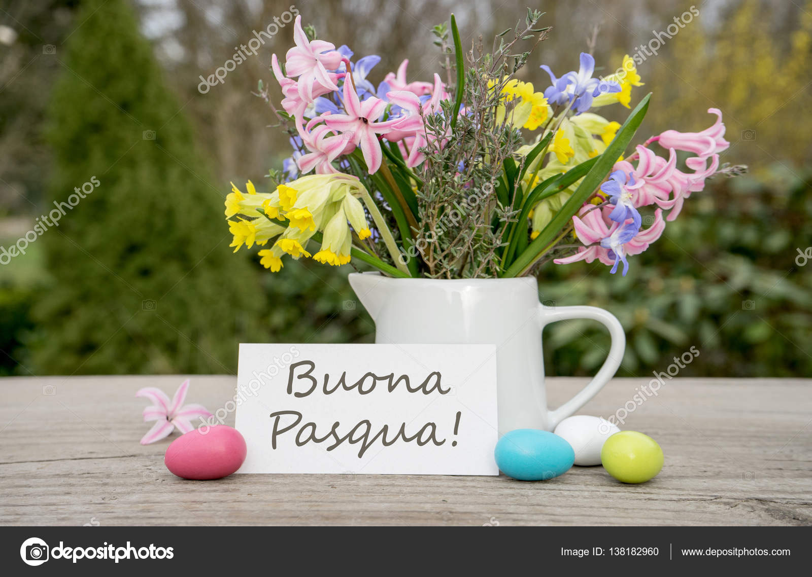 Italian easter card stock photo coramueller 138182960 italian greeting card for the easter celebration with the text happy easter photo by coramueller kristyandbryce Gallery