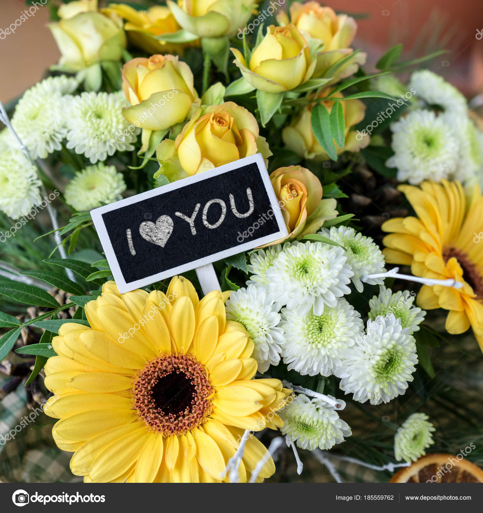 Love You Bouquet Yellow White Roses Gerberas Chrysanthemums Small ...