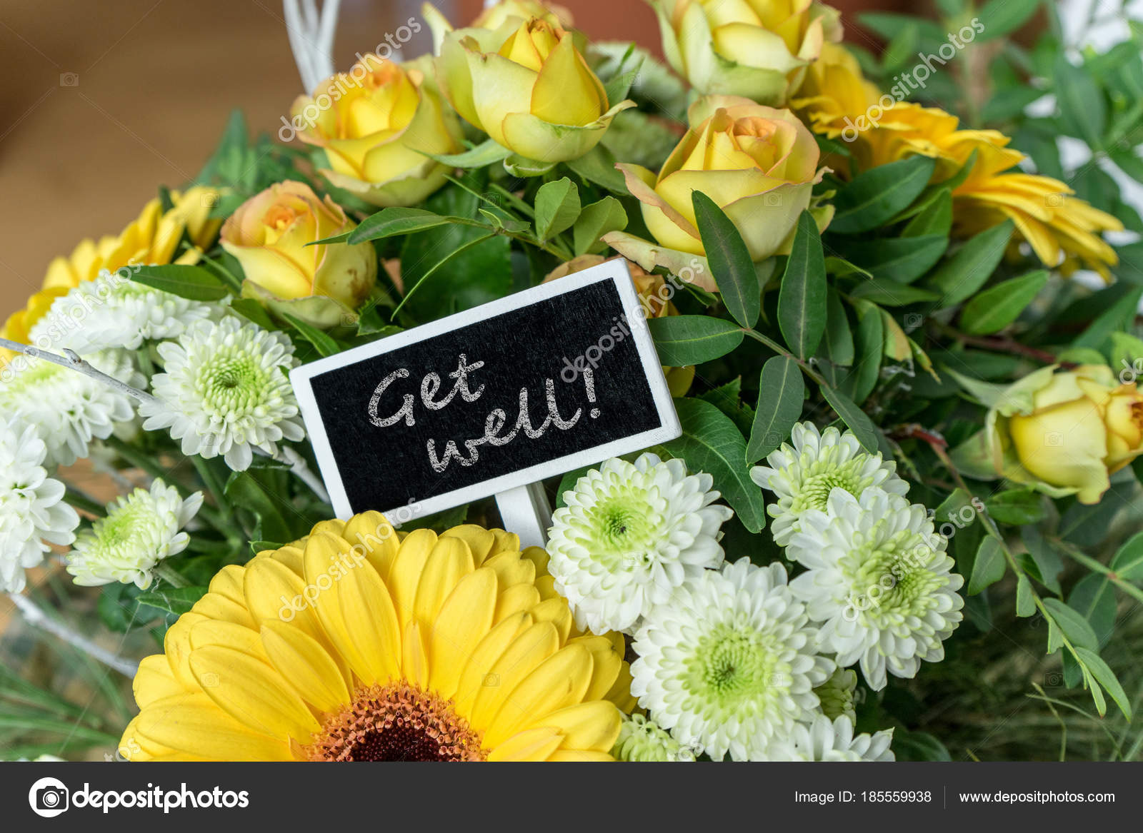 Get Well Soon Bouquet Yellow White Roses Gerberas Chrysanthemums ...