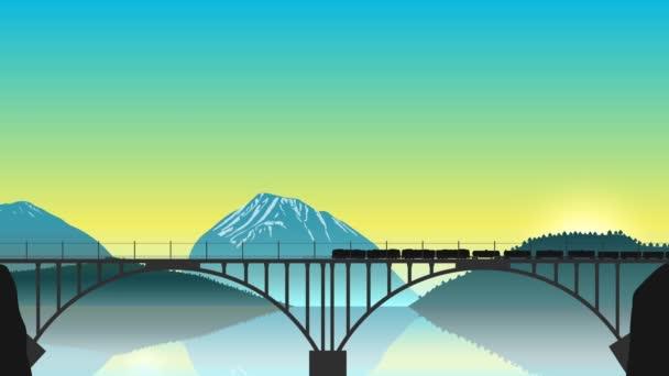 Jedoucího vlaku na mostě v pozadí horské krajiny. Loď přes rybník, letící letadlo. Animace z úsvitu