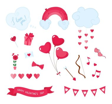 Valentines Day romantic flat vector stickers set. February 14 holiday decorations isolated pack. Heart shaped balloons, party accessories patches collection. Pink presents, flowers illustrations icon