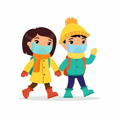 Asian schoolgirl and schoolboy going to school flat vector illustration. Couple pupils with medical masks on their faces holding hands isolated cartoon characters. Two elementary school students with backpacks waving hand and greeting