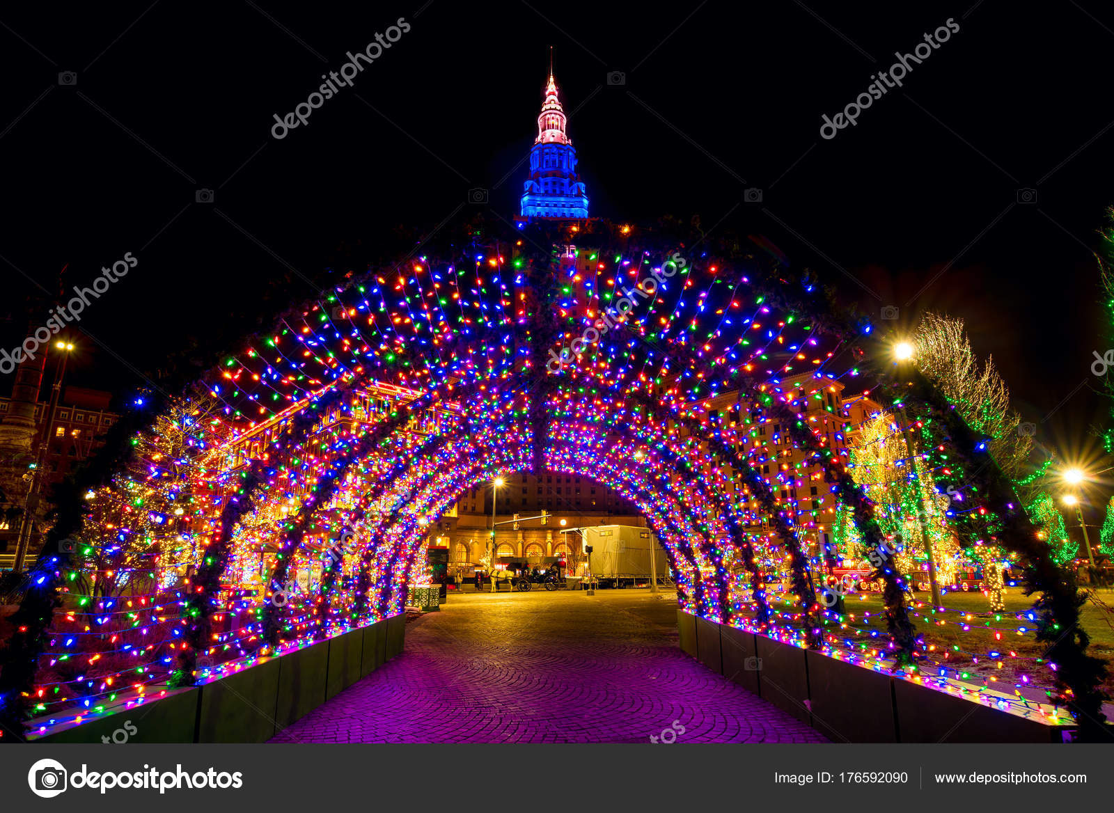 Cleveland Christmas Light Tunnel U2014 Stock Photo