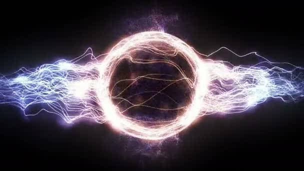 Abstraktní 4k Pohybová grafická smyčka pozadí, barevný energetický kruh Plazmový míč tvořený elektrickými paprsky a zářícími částicemi