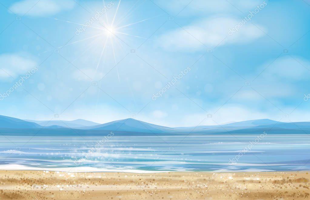 Blue panoramic sea scene