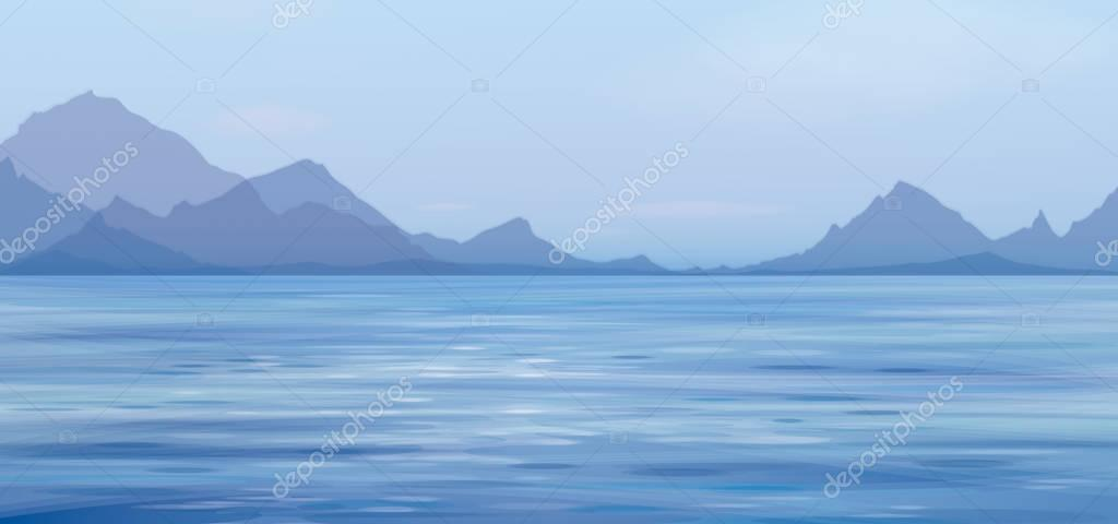 Blue panoramic sea scene