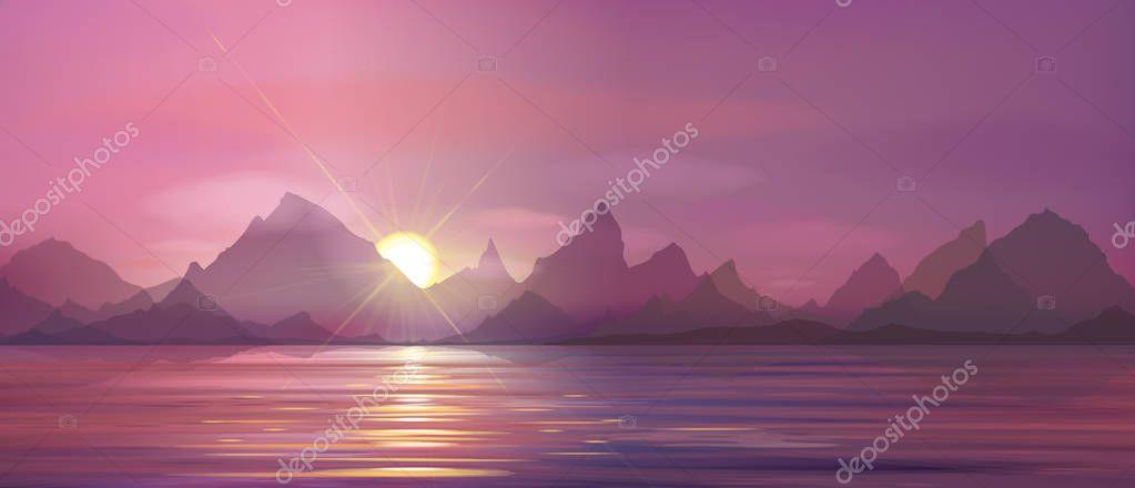 beautiful seascape with sunset