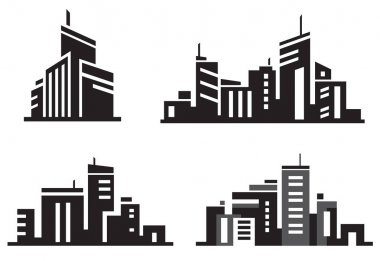 city buildings silhouette icons.