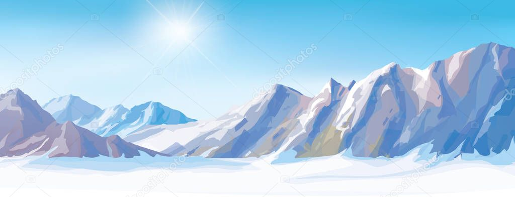 snow mountains background.