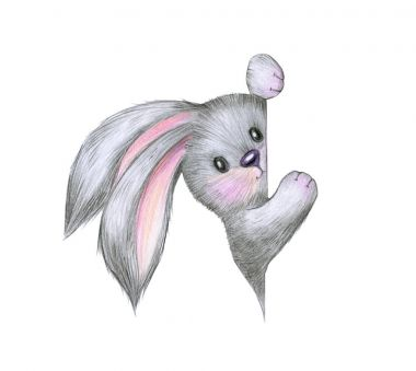 rabbit hiding behind bank poster