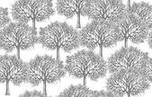 Fák sziluettek minta elszigetelt fehér background