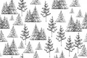 Fir trees silhouettes pattern isolated on white background