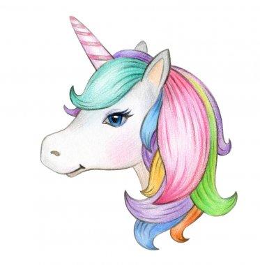 Magical unicorn portrait isolated on white background