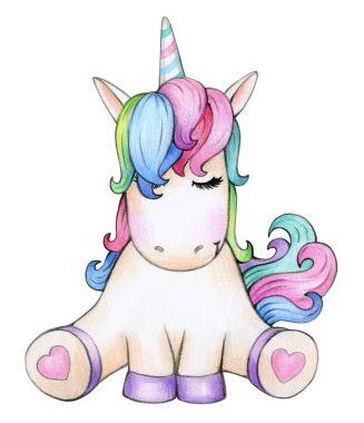 Cute sitting unicorn cartoon, isolated on white.