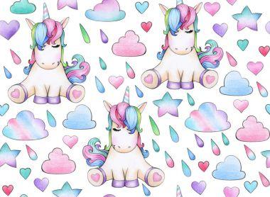 Cute, magic unicorn  seamless pattern,   isolated on white.