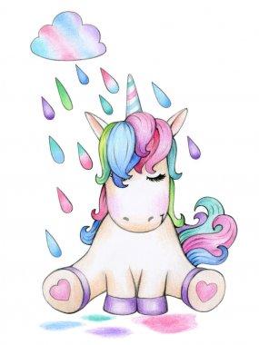 Cute sitting unicorn cartoon and raining, isolated on white.