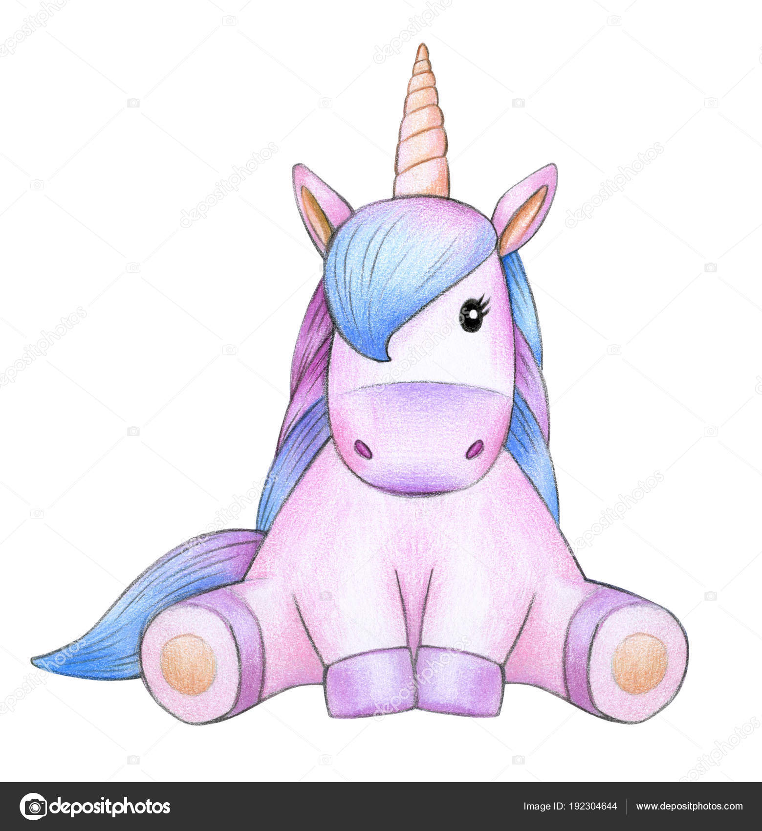 Seduta Unicorno Colorato Isolato Priorità Bassa Bianca Foto Stock