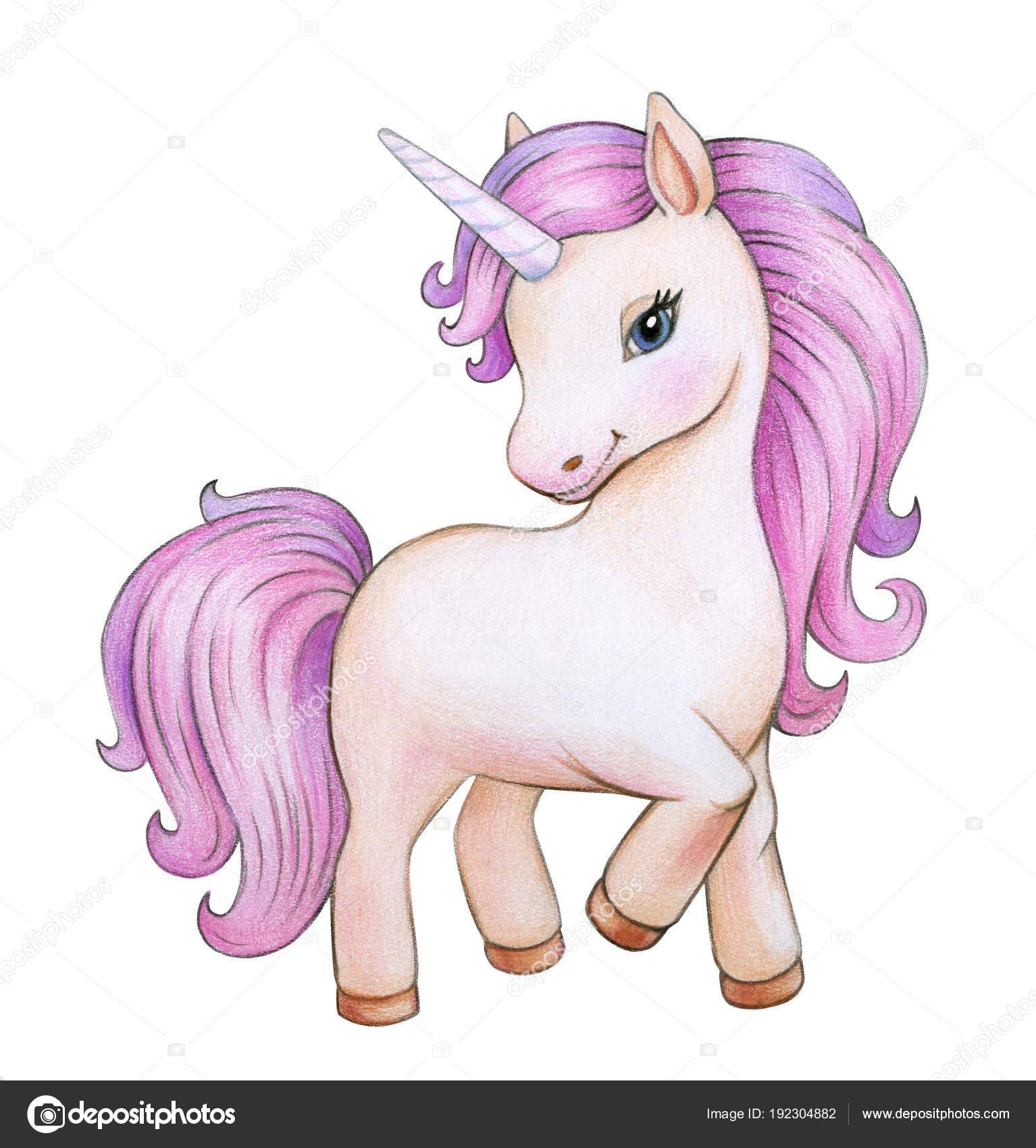 Fumetto Unicorno Colorato Isolato Priorità Bassa Bianca Foto Stock
