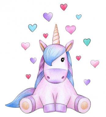 sitting unicorn cartoon with hearts on white background