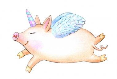 piggy unicorn cartoon on white background