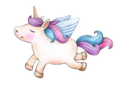 flying unicorn cartoon isolated on white background