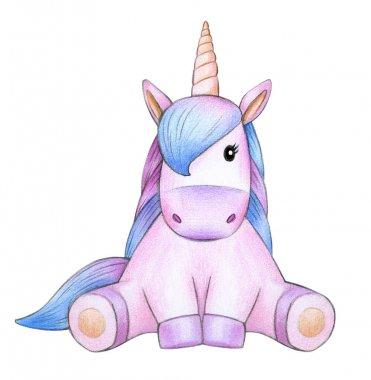 Colorful unicorn sitting isolated on white background