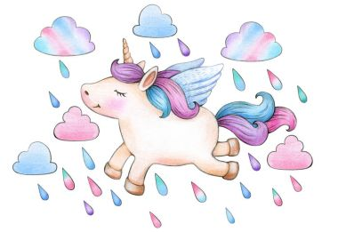 colorful unicorn flying under rain on white background