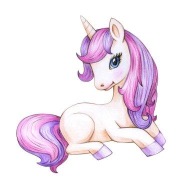 sitting unicorn cartoon isolated on white background
