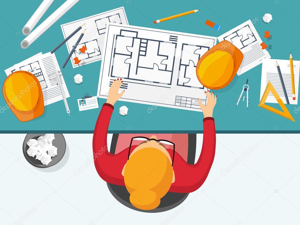 Vector arquitectura e ingenieria ilustraci n de vector for Arquitectura diseno y construccion
