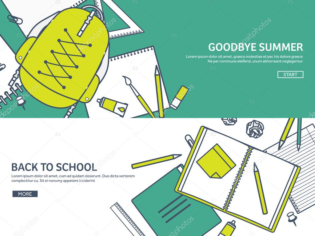 Vector illustration. Study and education. Lined flat style ...