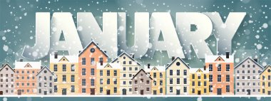 January month,winter cityscape.City silhouettes.Town skyline. Panorama. Midtown houses.New year,christmas.Holidays in December,February.