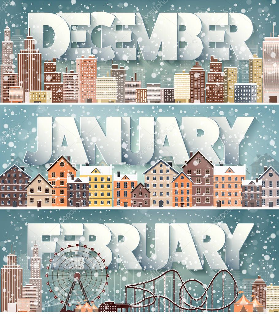 Winter cityscape.City silhouettes.Town skyline. Panorama. Midtown houses.New year,christmas.Holidays in December,January,February.