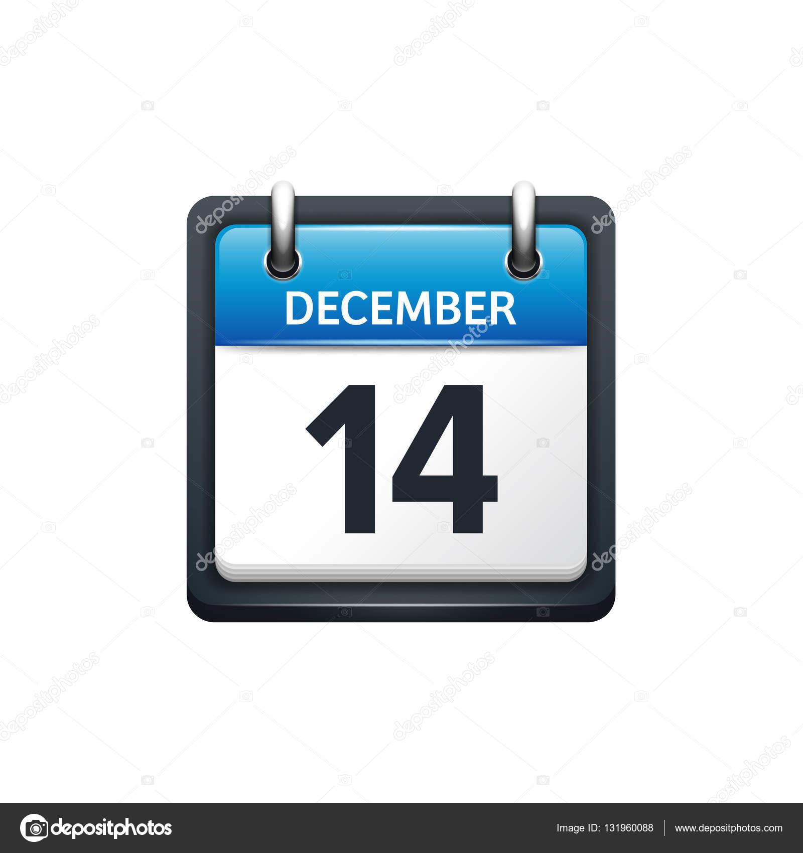 12 月 14 日 カレンダーのアイコン ベクトル図 フラット スタイル 月