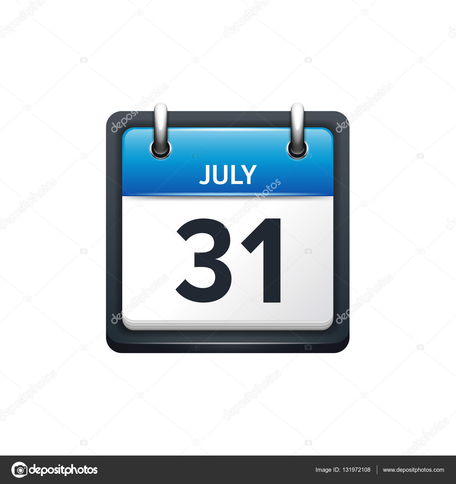 July Calendar IconVector Illustrationflat StyleMonth And Date - 2017 july 31