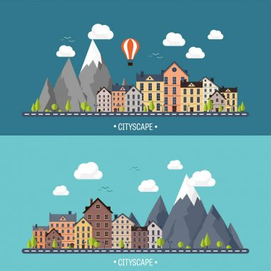 City in summer. Urban landscape with mountains. Town. Mountain peak,snow. House in village. Weather.