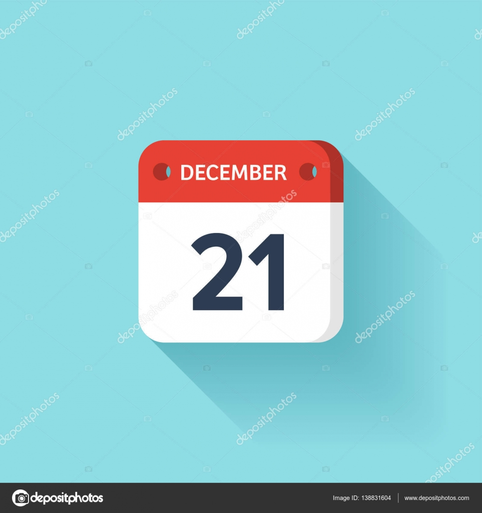 December 21 Isometric Calendar Icon With ShadowVector IllustrationFlat StyleMonth And DateSundayMondayTuesdayWednesdayThursdayFriday Saturday