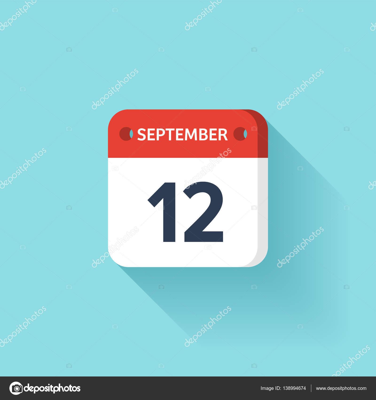 9 月 12 日 shadow vector の図 フラット style month date sunday