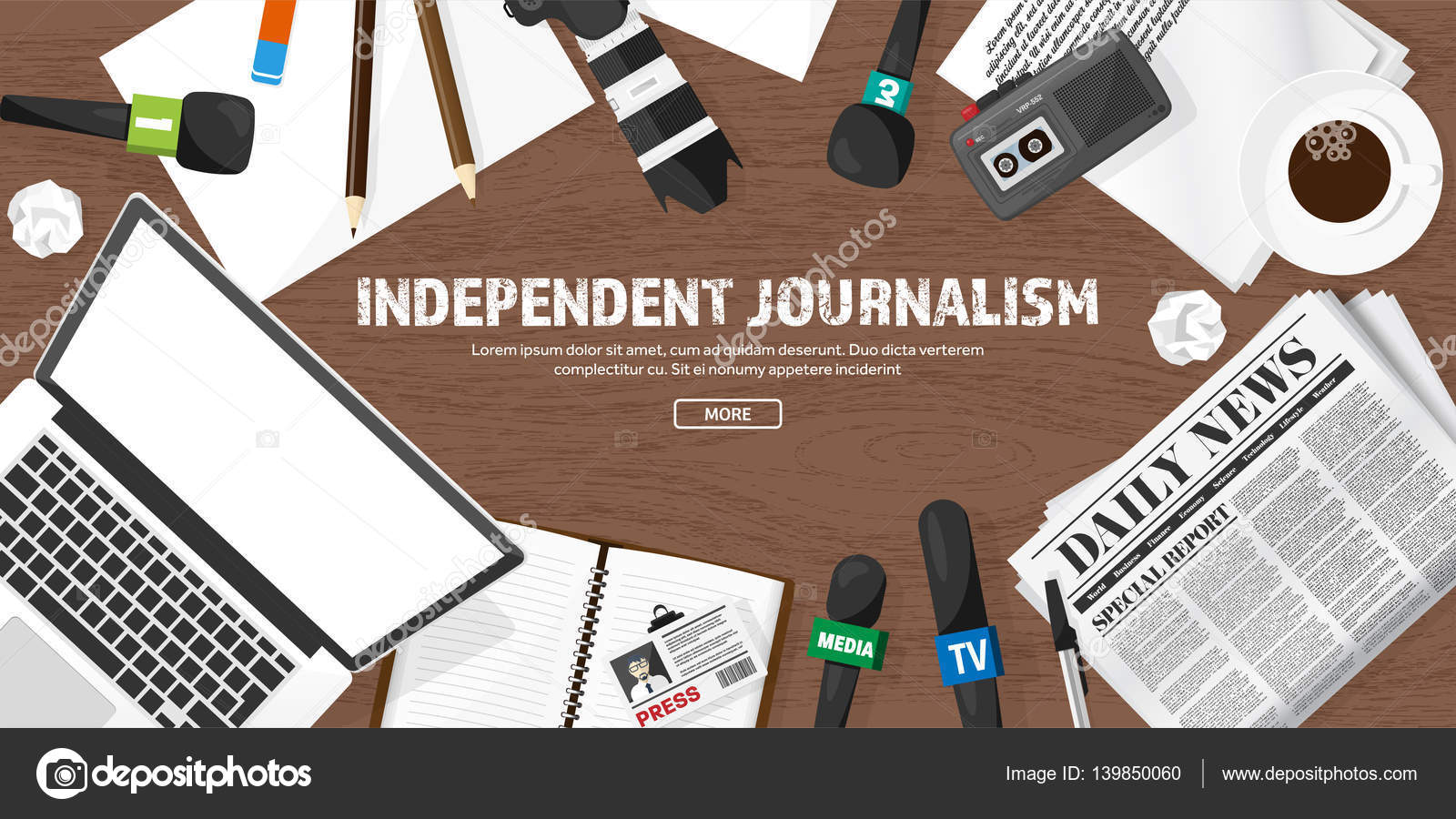 Mass media background in a flat style Press conference with