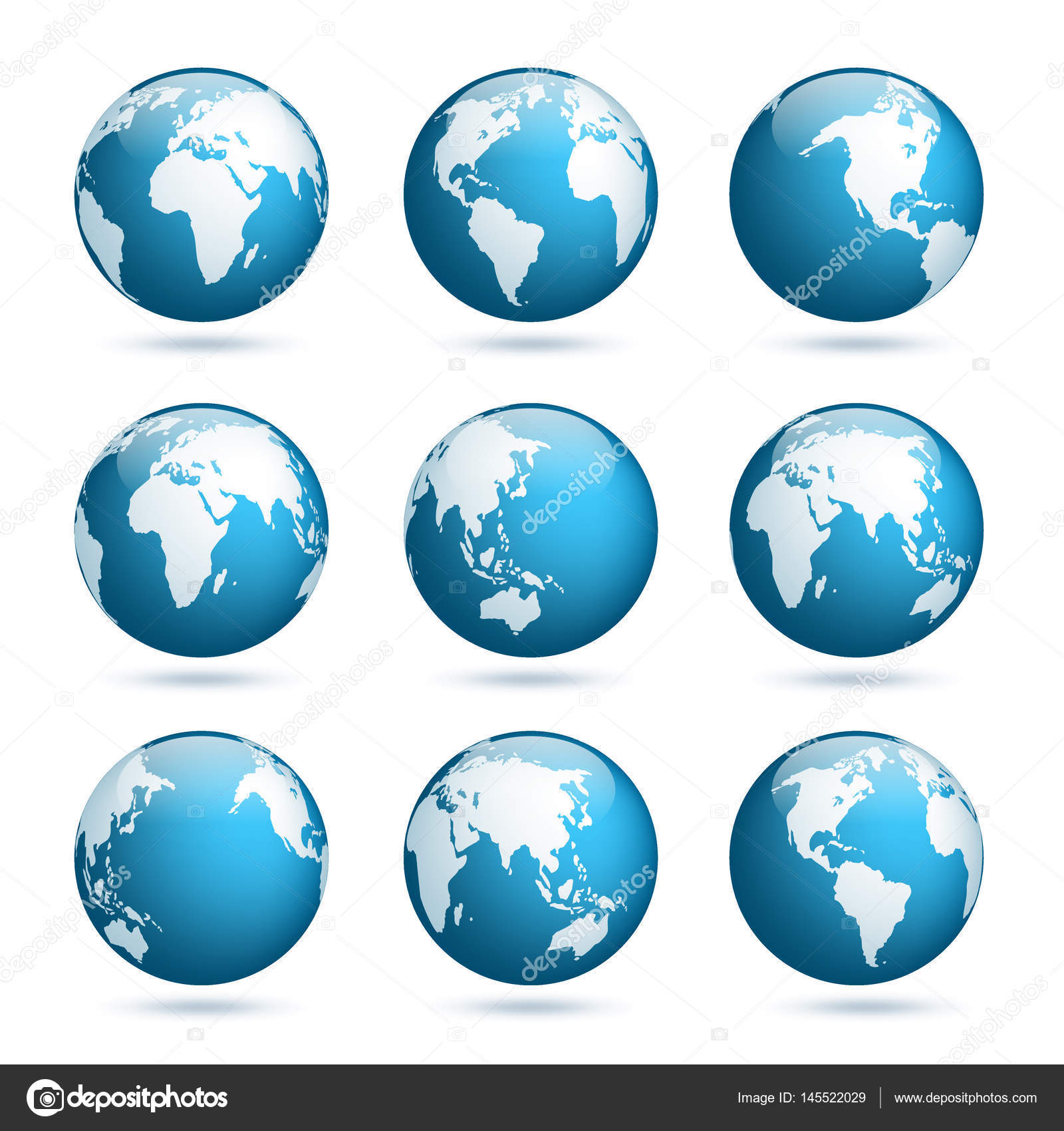 earth globe world map set planet with continentsafrica asia australia europe north america and south america vector by floral_set