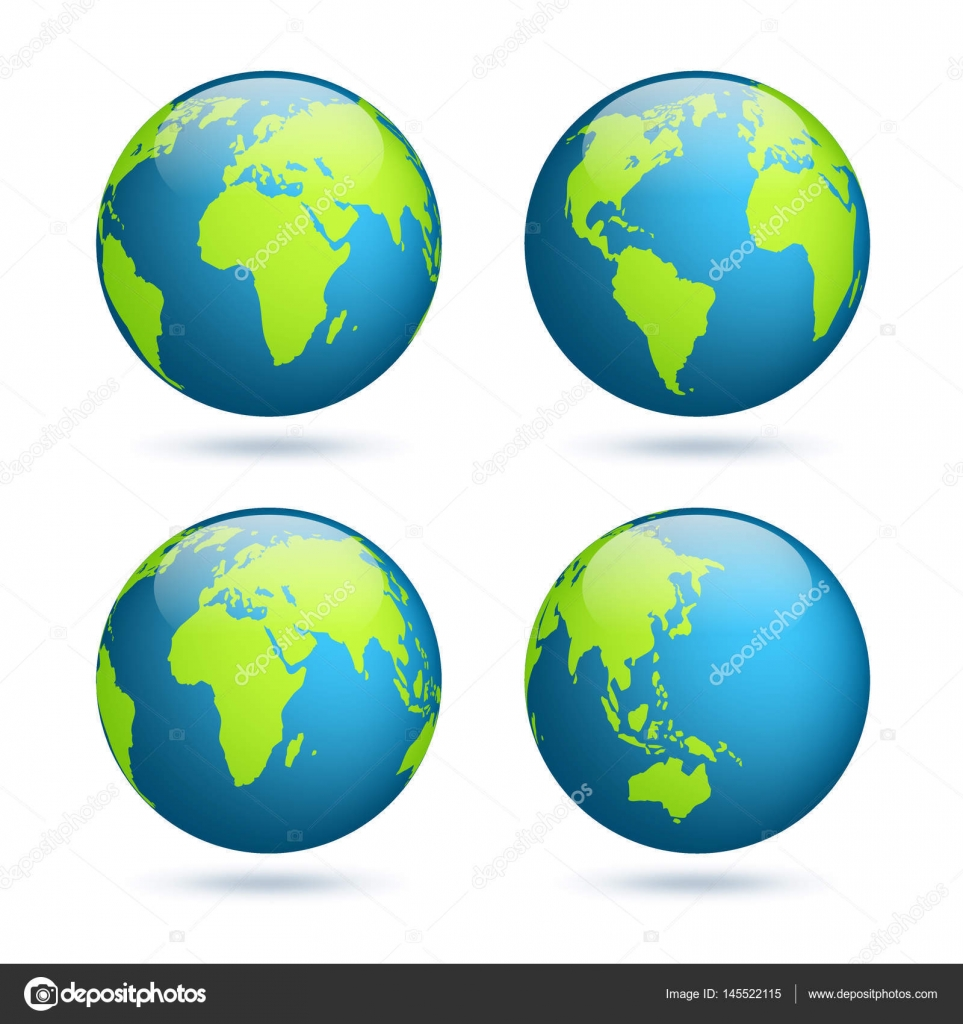 Earth globe world map set planet with continentsrica asia world map set planet with continentsrica asia australia europe north america and south america vector by floralset gumiabroncs Choice Image
